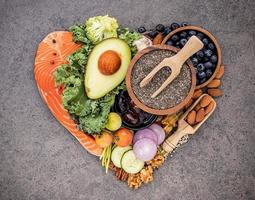Ketogenic low carb diet in a heart shape photo