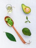 Top view of avocado skincare