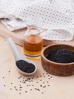 Black sesame oil on wood