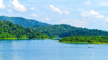 Lake with green mountains photo