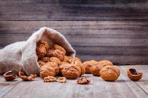 Walnuts in a hemp sack