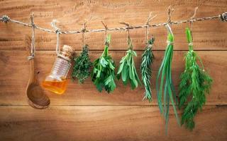 Herb bundles hanging photo