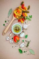 Italian food concept on a brown background photo