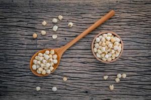 Lotus seeds on wood