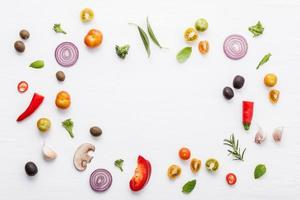Frame of fresh cooking ingredients
