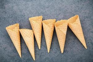 Ice cream cones on slate