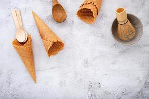 Waffle cones and a tea whisk