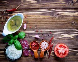 Fresh ingredients on a rustic wood table photo