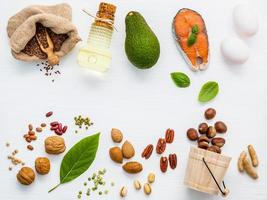 Top view of unsaturated fats foods