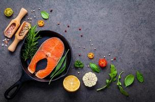 Various herbs and seasoning with salmon