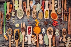Flat lay of herbs and spices with spoons photo