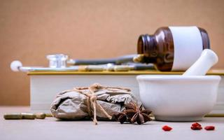Alternative healthcare with dried Chinese herbs photo