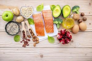 Fresh salmon and other ingredients