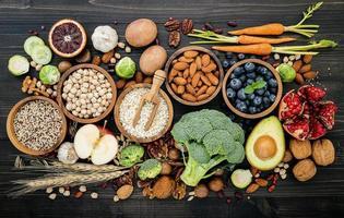 Top view of healthy fresh foods