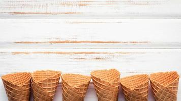 Ice cream cones with copy space on a shabby white background