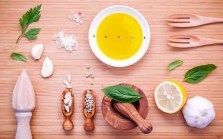 Fresh ingredients for pesto sauce