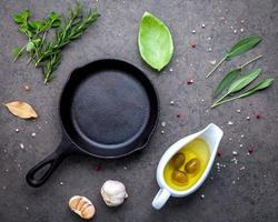 Frying pan with fresh herbs photo
