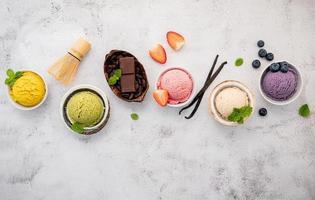Assortment of bowls of ice cream