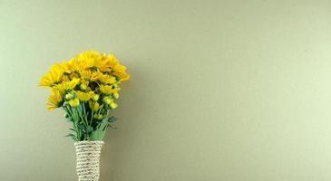 Minimal style, flat lay of bouquet yellow Chrysanthemum flowers