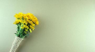 Yellow Chrysanthemum or mums flowers flat lay on gray photo