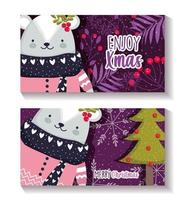 Merry Christmas card set with happy bear vector