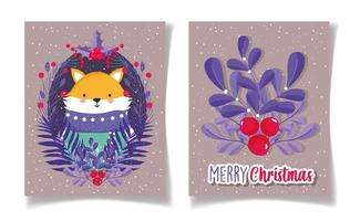 Merry Christmas card set with fox and holly berry vector
