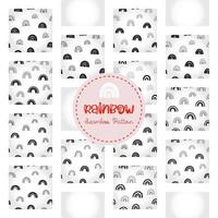 Rainbow seamless pattern, black and white hand-drawn arc doodle digital paper, abstract rainbows repeating background, the monochrome band of color vector wallpaper, cute bow decorative element