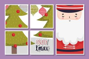 Merry Christmas card set with Santa Claus and tree vector