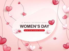 Plantilla de banner de tarjeta de felicitación del día internacional de la mujer. vector