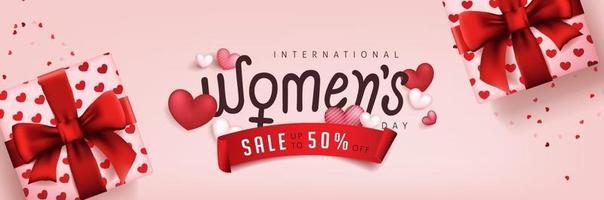 Plantilla de banner de venta del día internacional de la mujer. vector