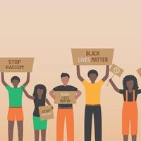 Black life matters stop racism a group of men and women holding signs vector