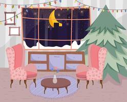 cartel de feliz navidad con lindo árbol de navidad en casa vector