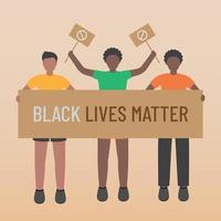 Black life matters stop racism group holding signs vector