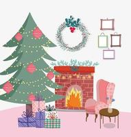 Merry Christmas poster with cute xmas tree at home vector