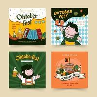 colección de plantillas de publicaciones de redes sociales del oktoberfest vector