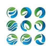 concepto de hoja de agua de círculo para salvar el medio ambiente logo vector plantilla