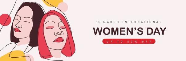 International women's Day sale banner  template. vector