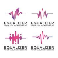wave audio equalizer logo icon vector template