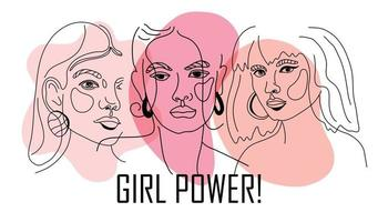 Girl power, empowered women, international feminism ideas poster concept. Linear trend illustration of women s faces in trendy style. Women Rights and diversity vector illustration.