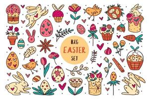 Easter doodle hand drawn vector set of elements, clip art, illustration, sticker. Line art design. Isolated on white background. Easter cakes, rabbits, muffins, plants, eggs, spices, flowers.
