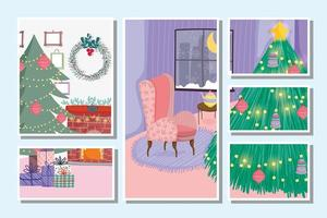 Merry Christmas card set with cute xmas tree at home vector