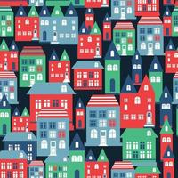Ancient city seamless color pattern with old buildings for wallpaper or background design on blue.