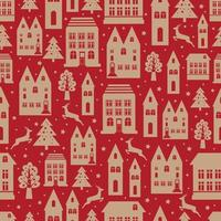 Ancient city seamless color pattern with old buildings for wallpaper or background design on red. Christmas and new year winter background.
