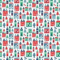 Ancient city seamless color pattern with old buildings for wallpaper or background design on white. vector