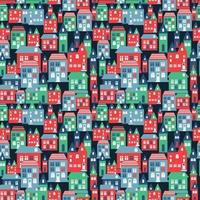 Ancient city seamless color pattern with old buildings for wallpaper or background design on blue. vector
