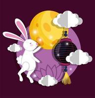 rabbit happy moon festival image vector