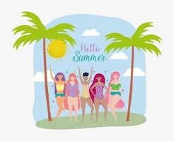 women hello summer holiday design vector
