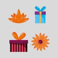 conjunto de cajas de regalo y flores.
