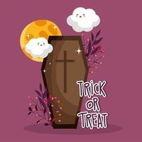 feliz halloween, truco o trato espeluznante ataúd vector