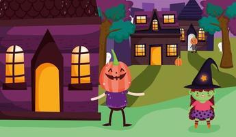 feliz halloween, truco o trato con lindos personajes vector